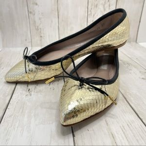 AGL Pointed Toe Ballet Flats In Gold Size 7